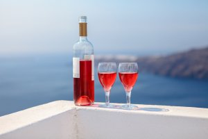 Glasses and bottle of wine in Greece